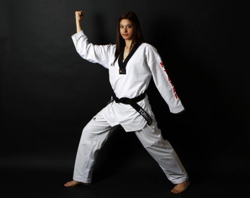 Turkish Taekwondo fighter and Olympic hopeful Nur Tatar poses in Ankara