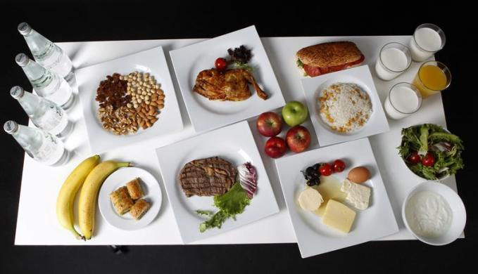 The daily meal intake of Turkish javelin thrower and Olympic hopeful Fatih Avan is pictured in Ankara
