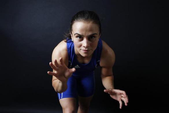 Turkish wrestler and Olympic hopeful Elif Jale Yesilirmak poses in Ankara