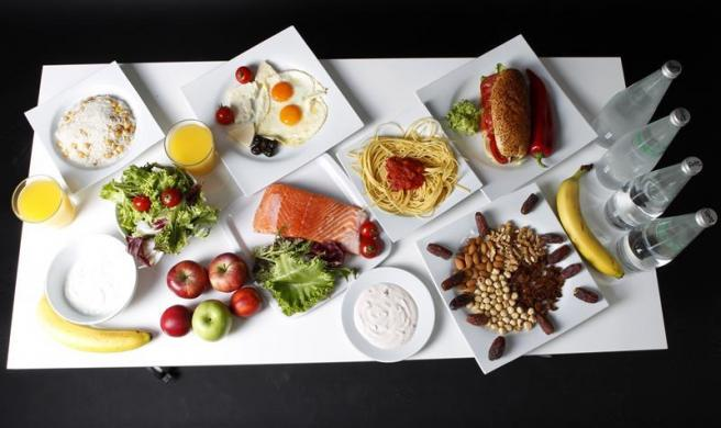 The daily food intake of Turkish wrestler and Olympic hopeful Elif Jale Yesilirmak is pictured in Ankara