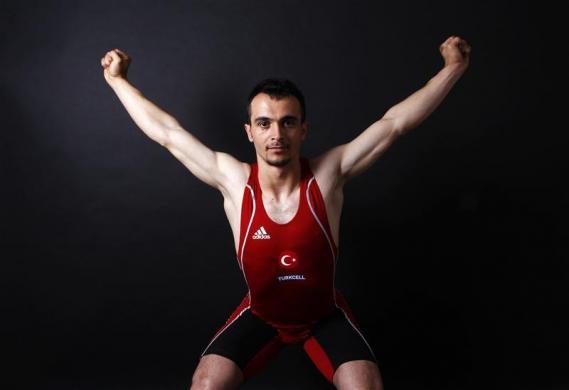 Turkish weightlifter and Olympic hopeful Mete Binay poses in Ankara