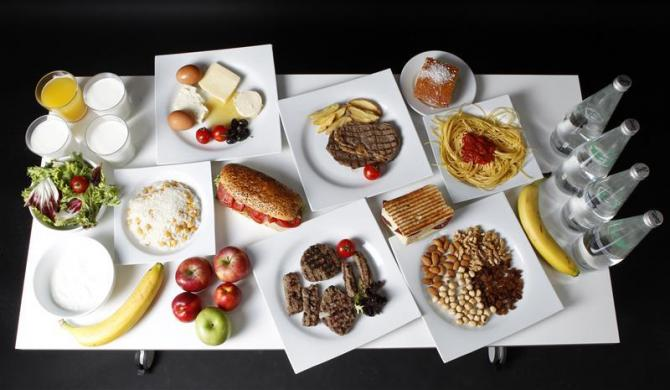 The daily food intake of Turkish weightlifter and Olympic hopeful Mete Binay is pictured in Ankara