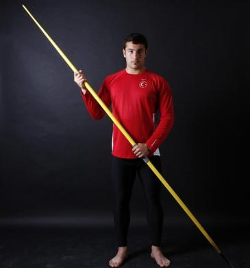 Turkish javelin thrower and Olympic hopeful Fatih Avan poses for a picture in Ankara